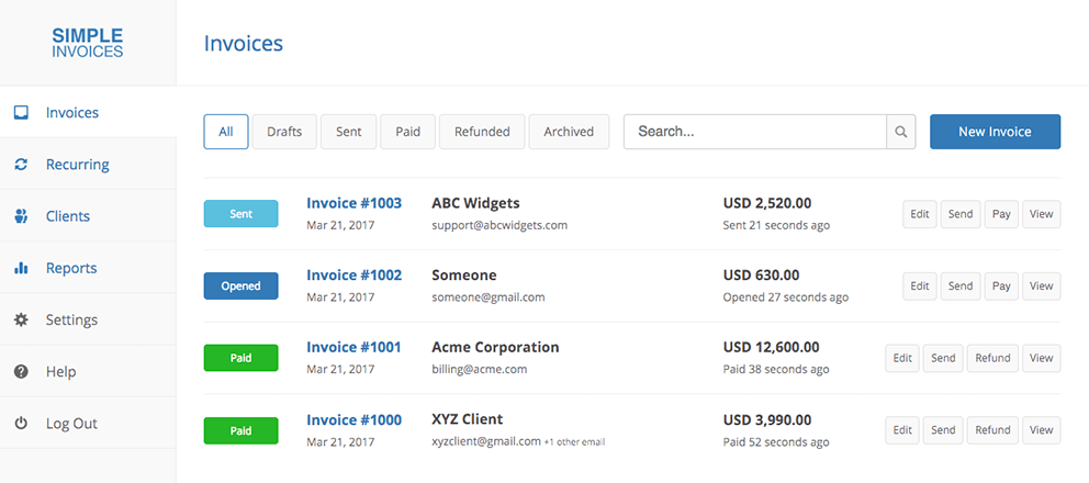 simple invoices - terms of service, Invoice examples